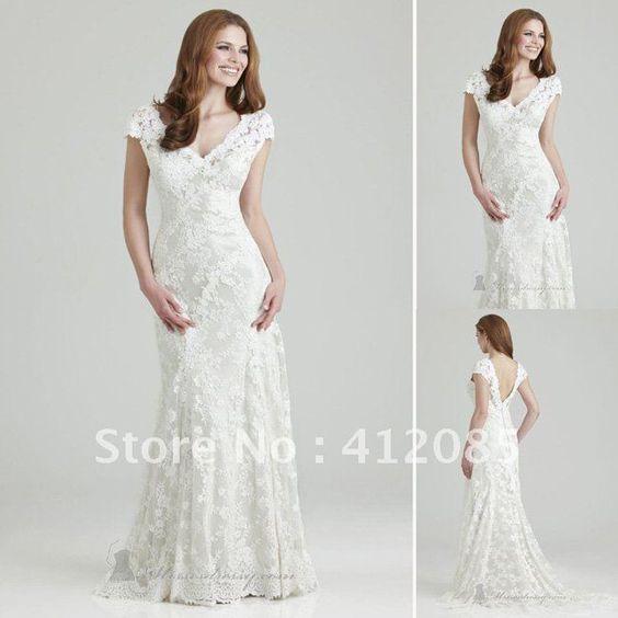 Style V Neck Short Sleeves Sweep Train White Lace Wedding Dresses J