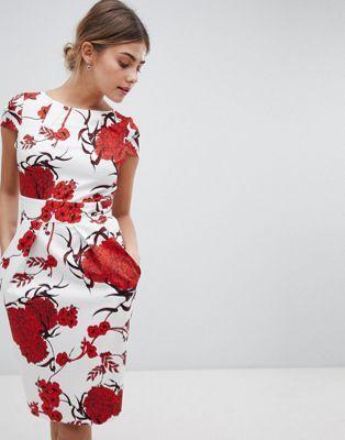 Closet London - Robe manches courtes avec lien à l'arrière et gros imprimé floral