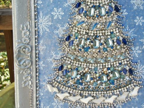 HUGE-Vintage-Rhinestone-Jewelry-Christmas-Tree-Framed-Art-18-x-12