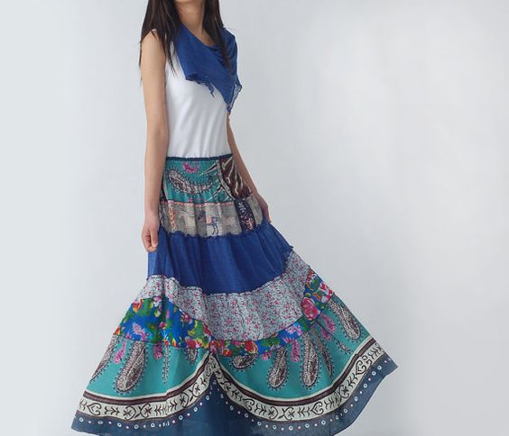 Blue Peony  patchwork maxi skirt and dress Q1207 by idea2lifestyle, $63.00