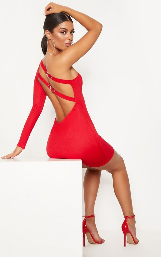 Red One Shoulder Buckle Detail Bodycon DressRed is the new black this season and this bodycon dre...
