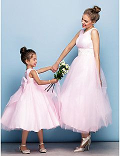 Mini Me Dress Ball Gown V-neck Tea-length Tulle Evening Dre... – USD $ 129.99