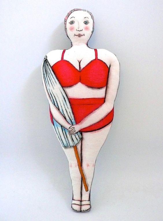La baigneuse au maillot rouge poup e peinte et feutres sur tissu un radis m 39 a dit blog - Enlever feutre sur tissu ...