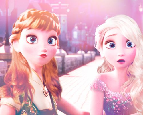 elsa and anna with their hair down