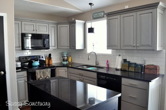 Countertop Dishwasher In Cabinet : painted kitchen cabinets or white cabinets. Black granite countertop ...