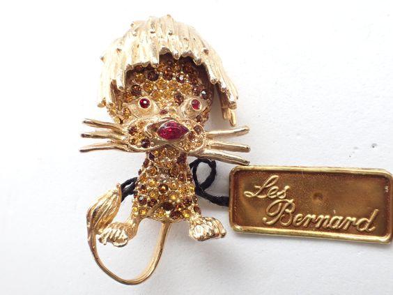 Les Bernard Inc Lion Brooch with tag dimensional rhinestone figural AB146 by MeyankeeGliterz on Etsy