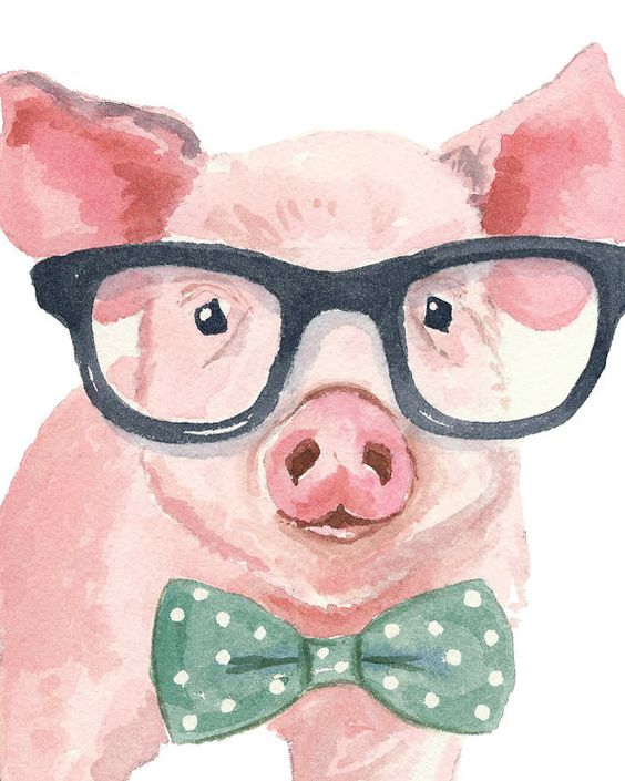 Pig Watercolor Painting PRINT - 11x14 PRINT, Hipster Glasses, Pig in Glasses, Nursery Art: