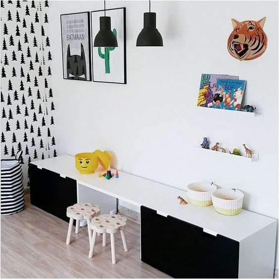 Chambres d 39 enfants instagram and gar ons on pinterest for Bureau noir et blanc ikea