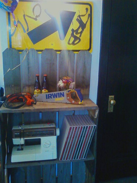 Made this wonderful shelving unit out of found fencing materials and scrap wood.
