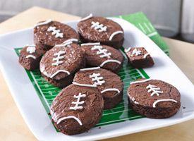 "Touchdown brownies"" recipe from Betty Crocker - shaped like footballs"