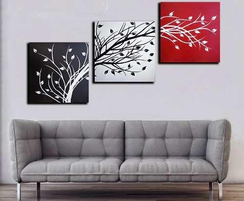Cuadros abstractos tripticos modernos pintados a mano 150x50 for Imagenes de cuadros abstractos para pintar