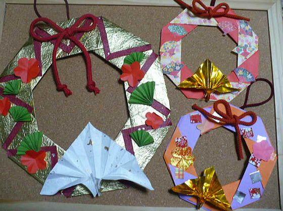 ハート 折り紙:お正月リース折り紙-jp.pinterest.com