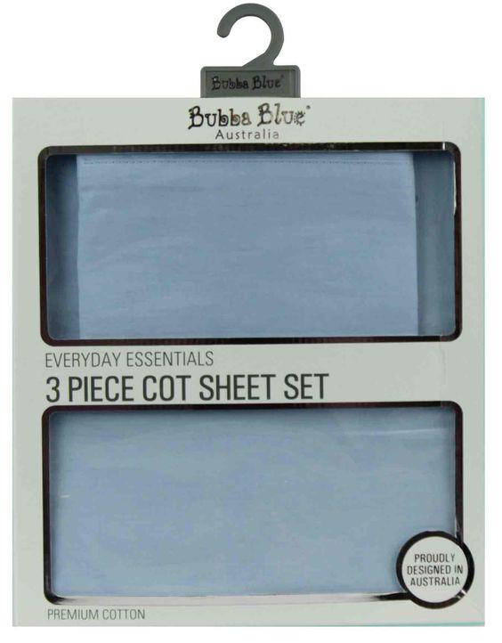 Bubba Blue 3 Piece Cot Sheet Set Blue
