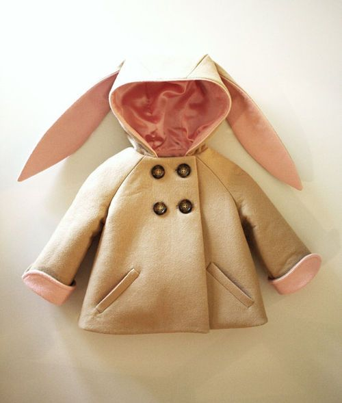 Baby Girl Fahion // This rabbit or bunny themed baby coat is adorable. Available from Etsy. #babycoats #bunnies