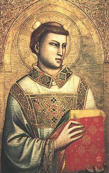 Santo Stefano in un'opera di Giotto. Stefano protomartire. Stephen Dedalus. Telemaco.: