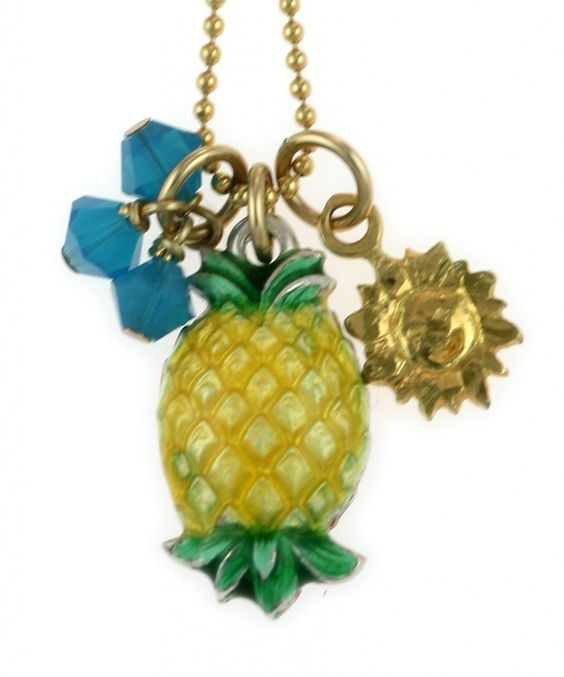 1968 TOYS AND games ,earrings cloths, glasware | Vintage Enamel Pineapple Necklace
