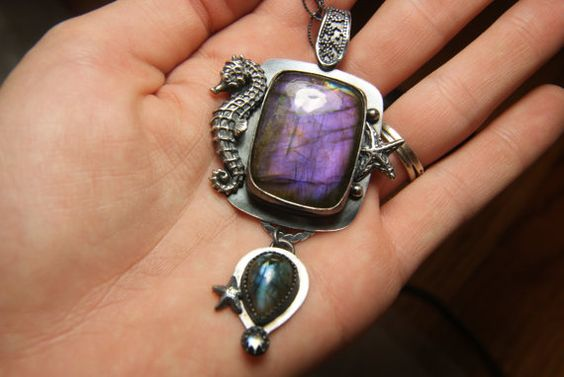 Purple Labradorite Pendant Blue Gemstone by TazziesCustomJewelry, $465.00 THIS PIECE IS MADE WITH A PURPLE LABRADORITE  BOUGHT AT    KALA KALI