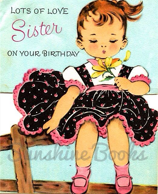 Images Of Vintage Girls First Birthday Card: Vintage Birthday Card
