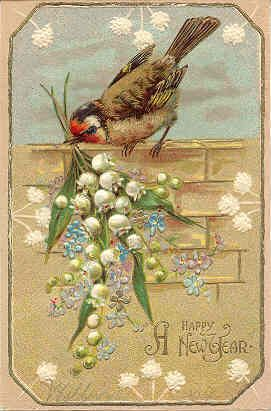 A Happy New Year Vintage Post Card - New Year:
