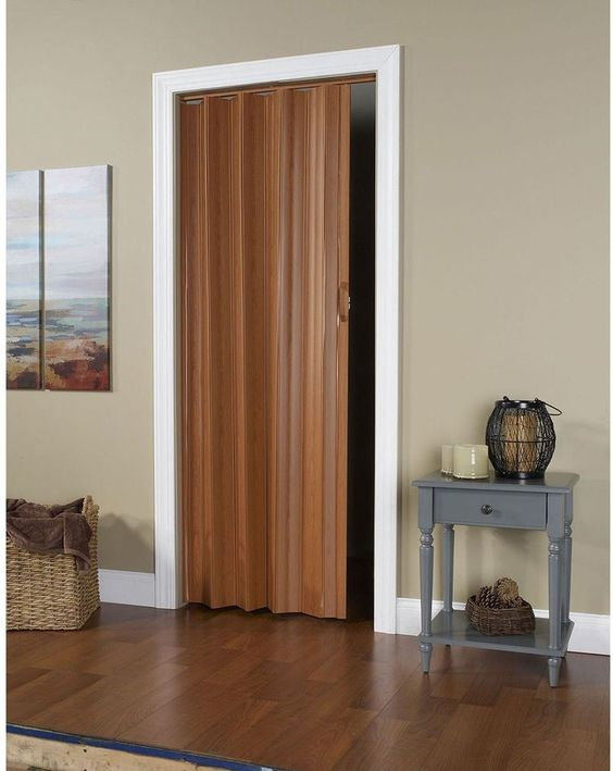 Brown Fruitwood Finish Durable Maintenance Free Folding Door Home Office Decor Door Accordion Doors Folding Doors Vinyl Panels
