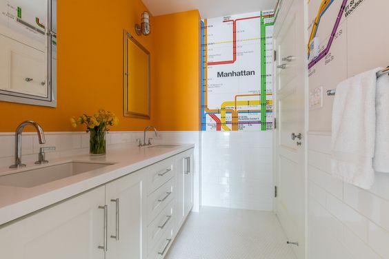 Kids' Bathroom featuring  Subway-themed wallpaper | Designed by Pier, Fine Associates  www.pierfine.com