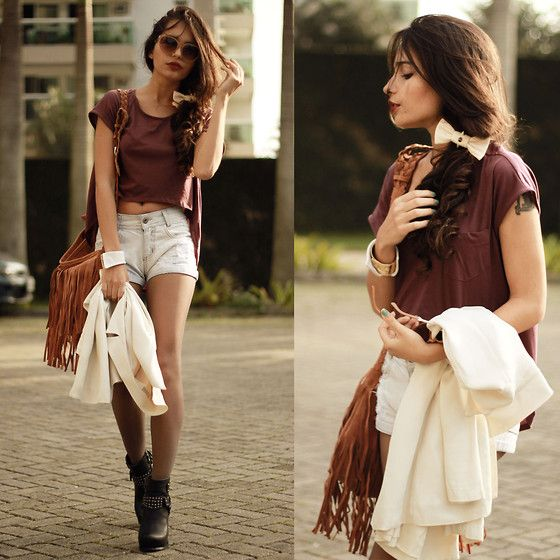 Club Couture Top, Chic Wish Fringe Bag, Choies Boots, Ivory 1977 Lace, Ivory 1977 Bracelet