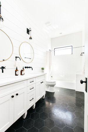 Black Large Hex Bathroom Floor Tile Lexi Grace Design Timeless Bathroom White Bathroom Designs Bathroom Tile Designs