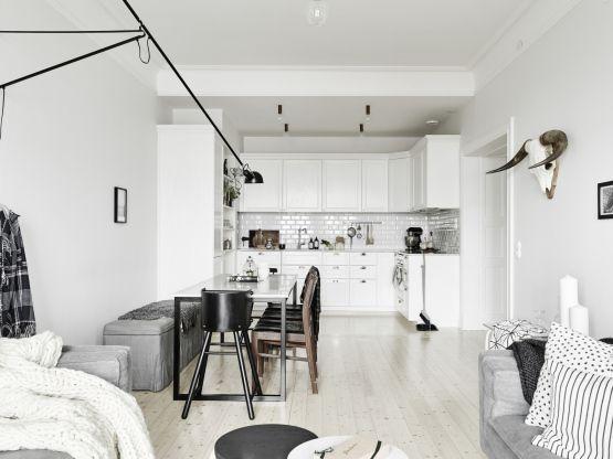 Salones nórdicos pisos nórdicos grises paleta neutra decoración ...