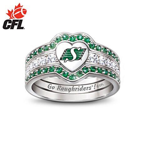 Three Band Saskatchewan Roughriders Engraved Ring