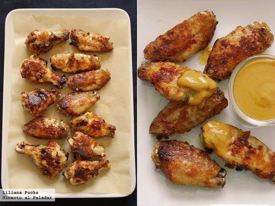 Alitas de pollo asadas con salsa de mostaza y miel