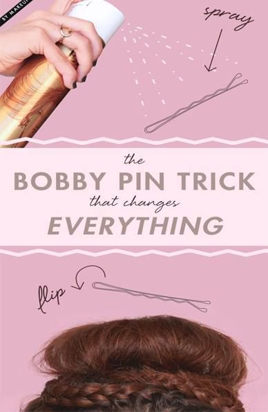 #hairtips After you spray the bobby pins, wait a couple of seconds to let them dry just enough to get them sticky… https://www.facebook.com/YourTonic/photos/pb.358254260906062.-2207520000.1412588692./706399582758193/?type=3&theater
