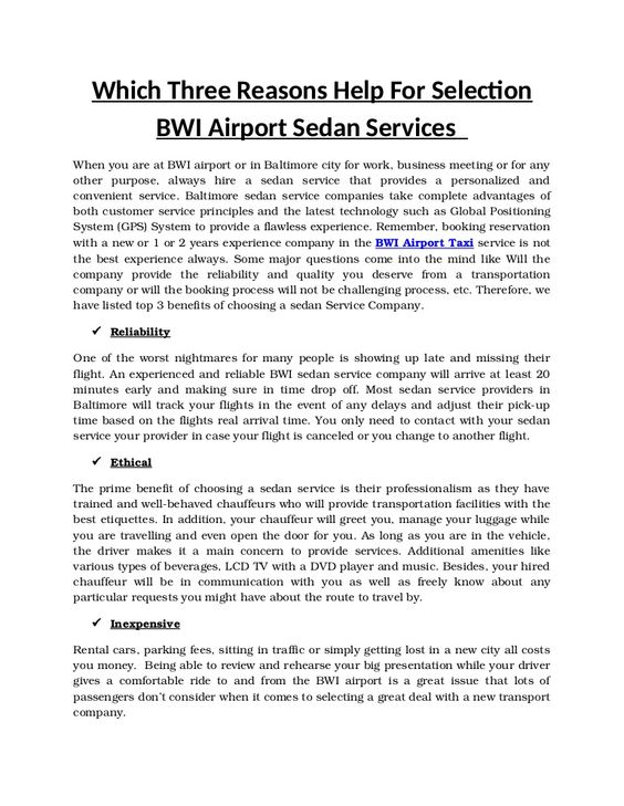 Booking a BWI airport car services in well-advance provides you - car service invoice
