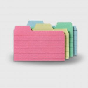Our unique tabbed index cards help organizing your recipes, contacts and much more!