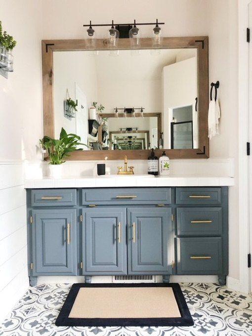 7 Bathroom Vanity Cabinet Colors You Ll See Everywhere In 2020 Hunker Bathroom Cabinets Diy Simple Bathroom Master Bathroom Renovation