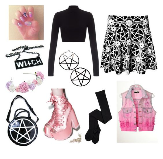 Pastel Goth by pipertehcat on Polyvore featuring Lipsy, Kill Star, Y.R.U., grunge, goth, pastelgoth, pastels and pastelsandblack