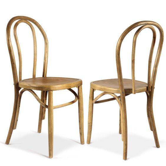 Adeco Elm Wood Antique Bistro Dining Chair Set of 2 by Adeco – Bistro Dining Chair
