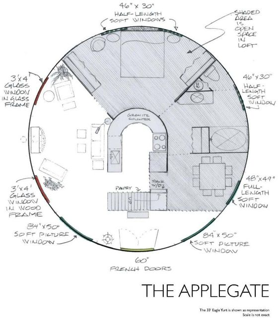 Yurt Floor Plans - Applegate  I love these plans. Finally a house I can clean with just Windex!: