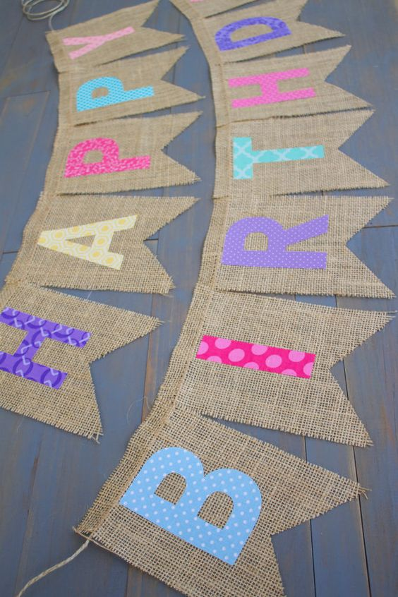 Reusable Happy Birthday Rainbow Pink Purple Coral Blue Yellow Teal Fabric Letters on Burlap for First Birthday Party or Birthday Photo Prop by MsRogersNeighborhood Etsy shop