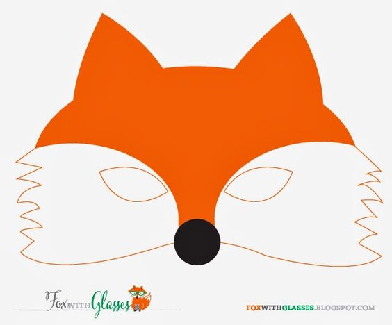 Free printable fox mask fox with glasses for Fantastic mr fox mask template