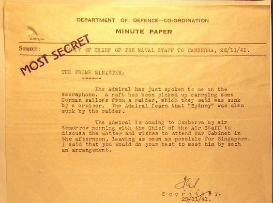 Photo Memo from Australian Secretary to the War Cabinet Frederick - formal memo