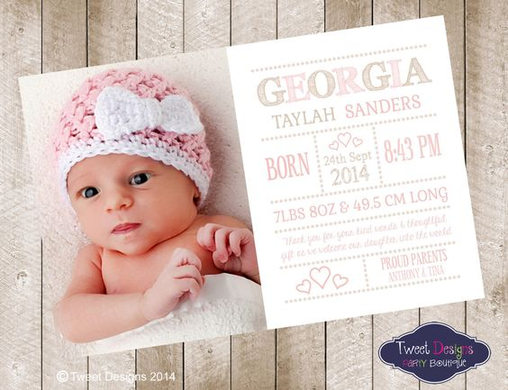 BIRTH ANNOUNCEMENT Girl, Printable BABY Thank you Card, Photo ...