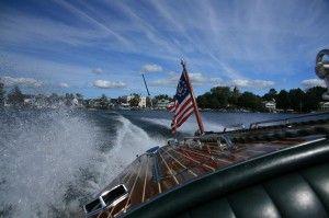 On a boat.  Lake Winnipesaukee!