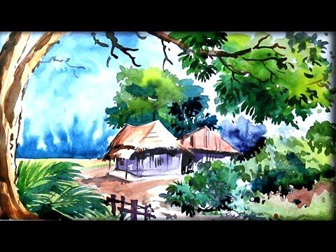 Watercolor Painting Village Landscape Nature Scenery Drawing