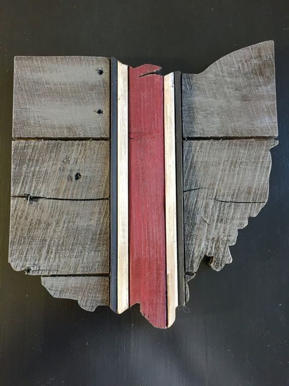 Ohio State Reclaimed Wood Pallet Wall Art by FiberGrainStudios - Ohio State Reclaimed Wood Pallet Wall Art Rustic Home Decor 12