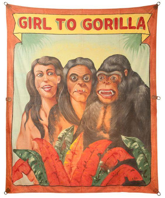 Girl to gorilla sideshow banner by Fred G. Johnson http://www.cultofweird.com/sideshow/girl-gorilla-grind-show/