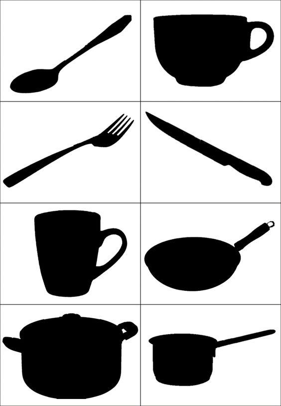 """Лексична тема """"Кухня. Посуд"""". Предметні картинки та їх тіні"""