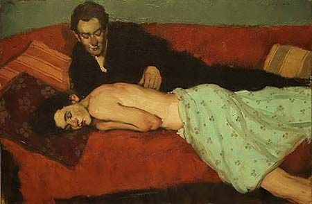 """Malcolm Liepke, American Painter  A good art piece to show before and after reading """"Porphyria's Lover"""". Seems sweet and loving, but reading that poem may change their perspective. A good lesson on perspective and interpretation."""