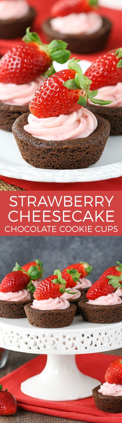 Strawberry cheesecake, Cookie cups and Cheesecake on Pinterest