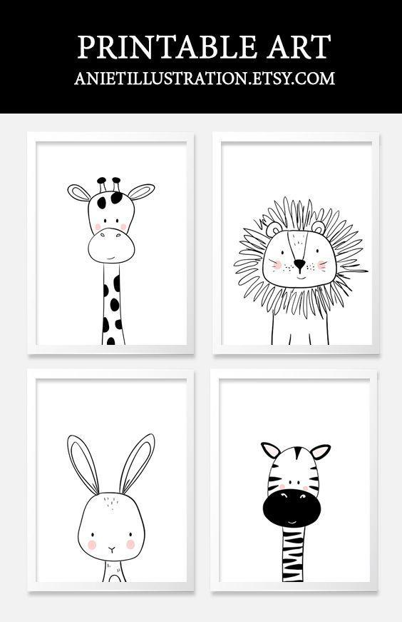 Black And White Nursery Kids Art Printable Nursery Wall Art Nursery Wall Art Printable Baby Art Art For Kids