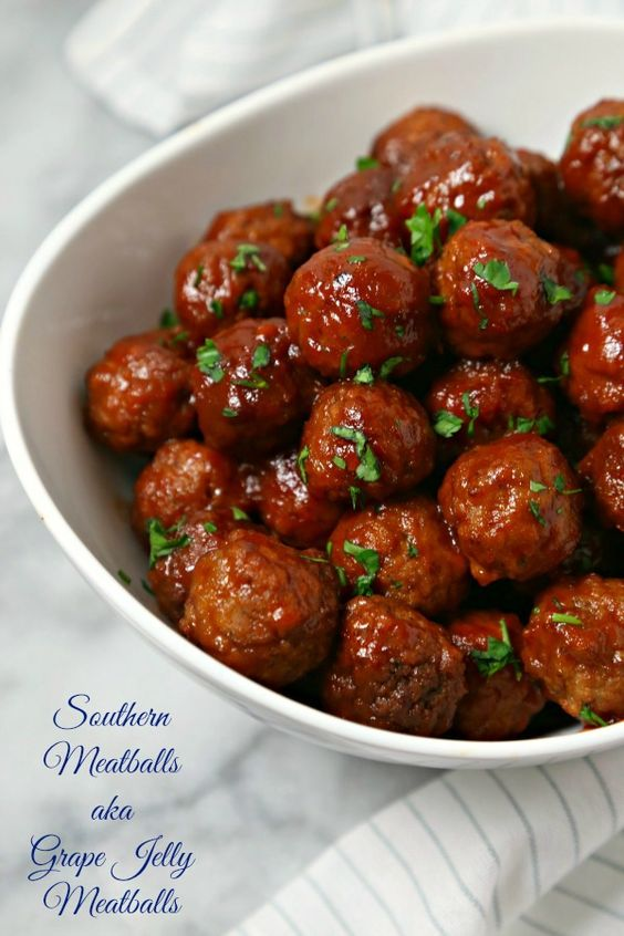 Southern meatballs aka grape jelly meatballs recipe for Meatball appetizer recipe crockpot